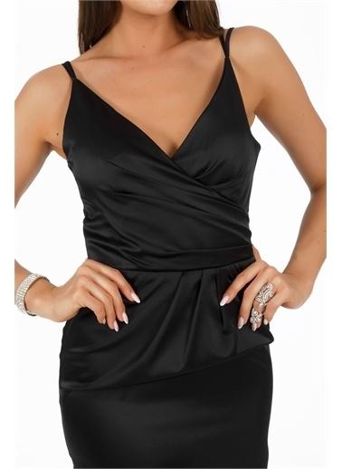Carmen Saten Kruvaze Kısa Abiye Elbise Siyah